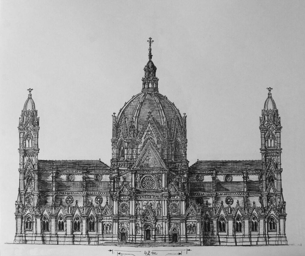 Bologna, Dom St. Petronio. Der große Plan nach dem Modell Ariguzzis mit der im inneren ca. 80 Meter hohen, über die ganze Breite der drei Langhausschiffe reichenden Kuppel und dem langen Querhaus mit Fassadentürmen an den Fronten.