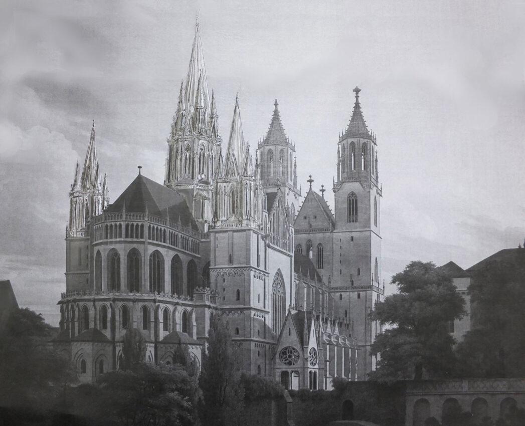 Magdeburg. Dom. Perspektive zur Ostansicht mit fünf Türmen.