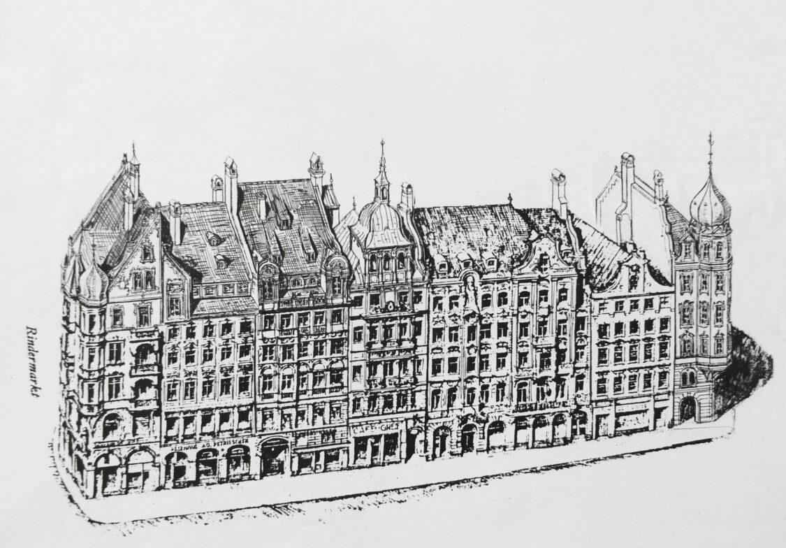 München Umgestaltung der südlichen Platzwand des Marienplatzes erfolgt durch zusätzliche Giebel und Dachaufbauten. Die alten Eckhäuser werden durch schmalere Neubauten ersetzt.