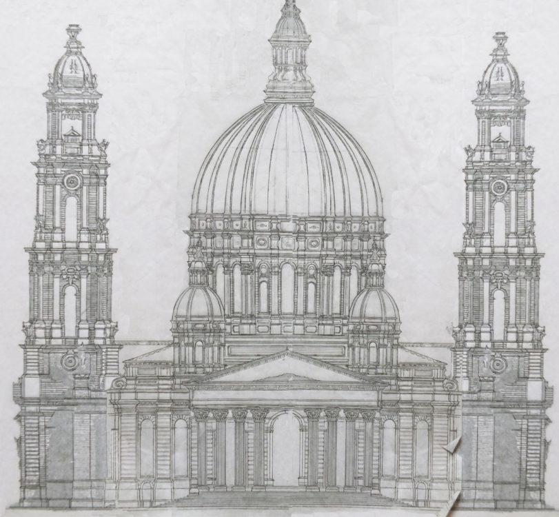 Potsdam Garnisonkirche. Fiktionaler Ausbauplan der Garnisonkirche als Kuppelbau mit zwei Türmen