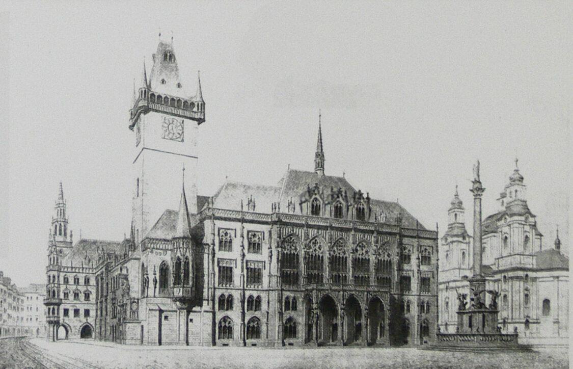 Prag. Das Rathaus in der Prager Altstadt wurde hier ersetzt durch einen angepassten neugotischen Bau.