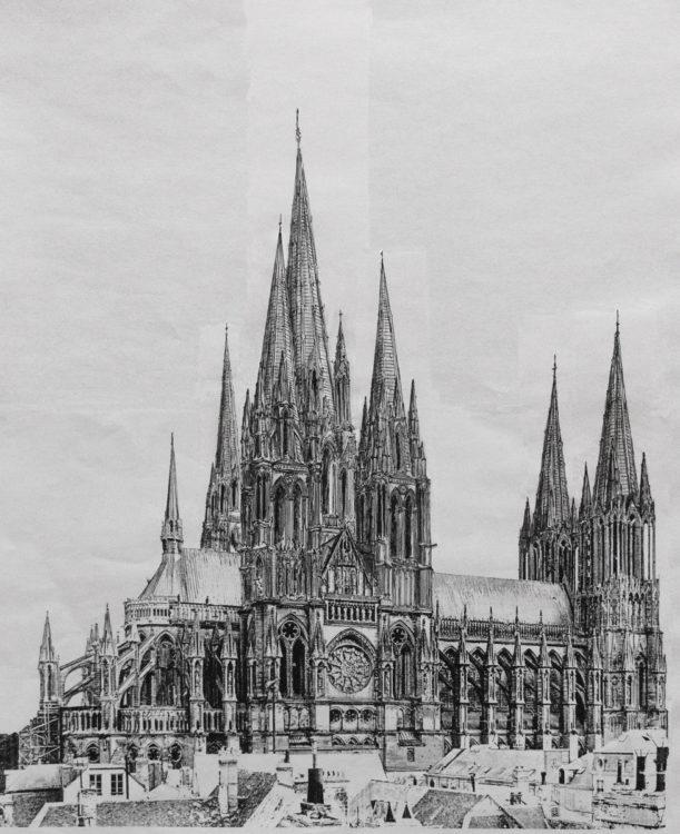 Kathedrale von Reims mit vollständig ausgebauten Türmen nach Vorlagen Viollet-le-Ducs Entwurf zur >Cathedrale ideale< von 1870