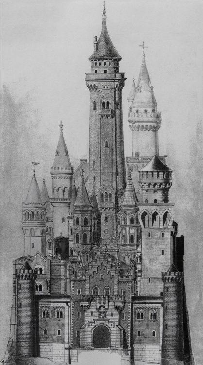 Schloss Neuschwanstein Aufriss Ost mit dem hohem Bergfried