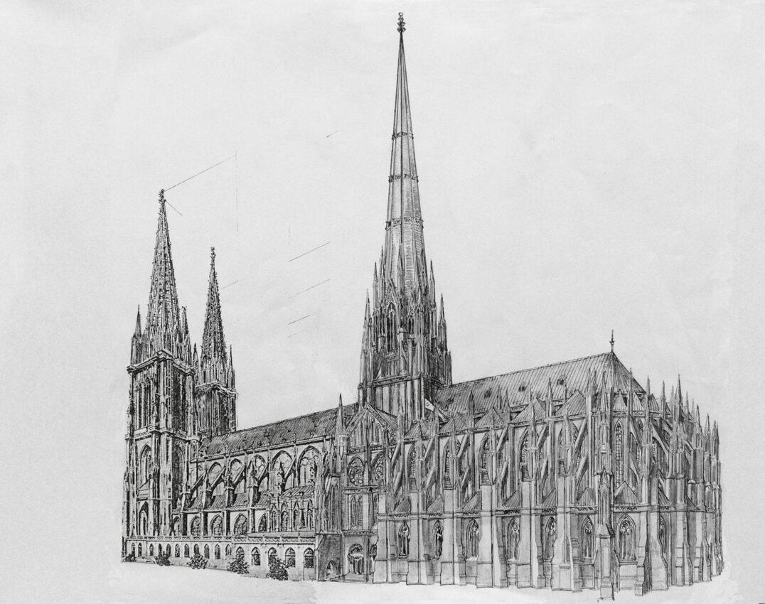 Straßburger Münster. Perspektivische Ansicht des Projektes nach Adler mit dem neuen sehr hohen Vierungsturm sowie dem Hallenbau mit dem neuen Chor.