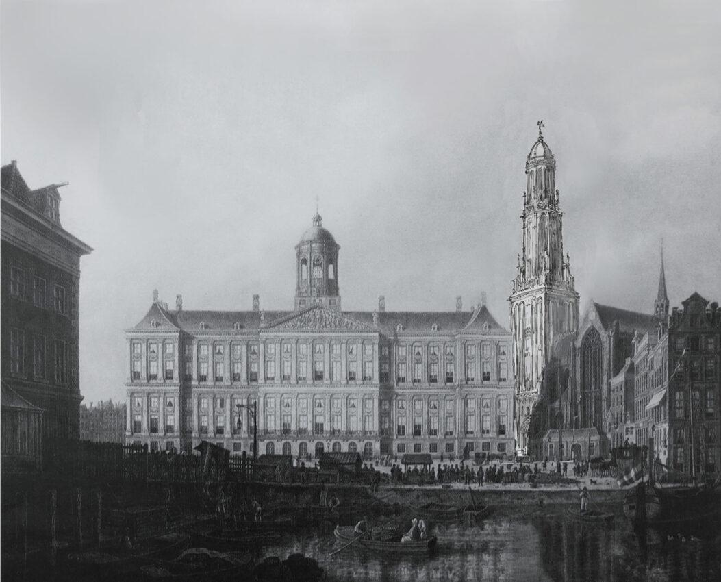 Perspektivische Ansicht des geplanten Turmes nach van Campen an der Neuen Kirche. Die Kuppel des horizontal streng gegliederten Turmes korrespondiert harmonisch mit der Kuppel auf dem Rathaus