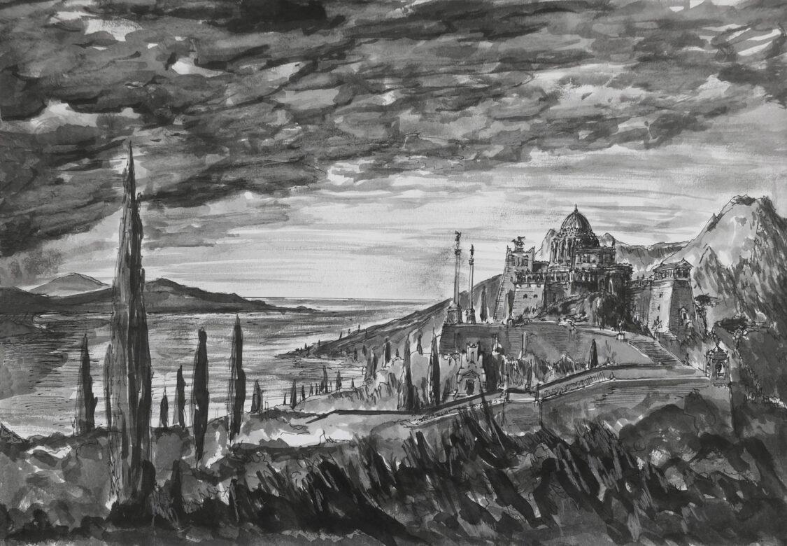 Eine weitere Studie zeigt ein Schloss am Meer als arkadische Phantasie des Verfassers.