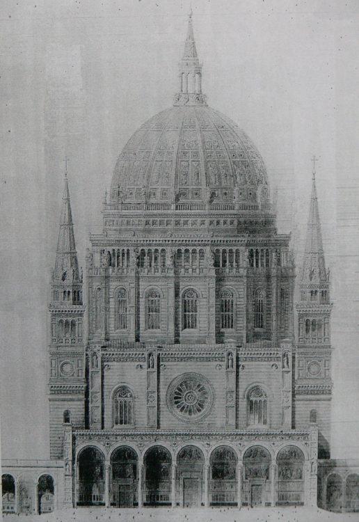 Berliner Dom nach den Plänen von Friedrich August Stüler. Überarbeiteter Entwurf eines Zentralbaus am Lustgarten von 1849 mit der hohen Kuppel. Dieser Bau war bereits begonnen worden, wenngleich nur die Fundamente und Teile des Campo Santo fertig gestellt waren.