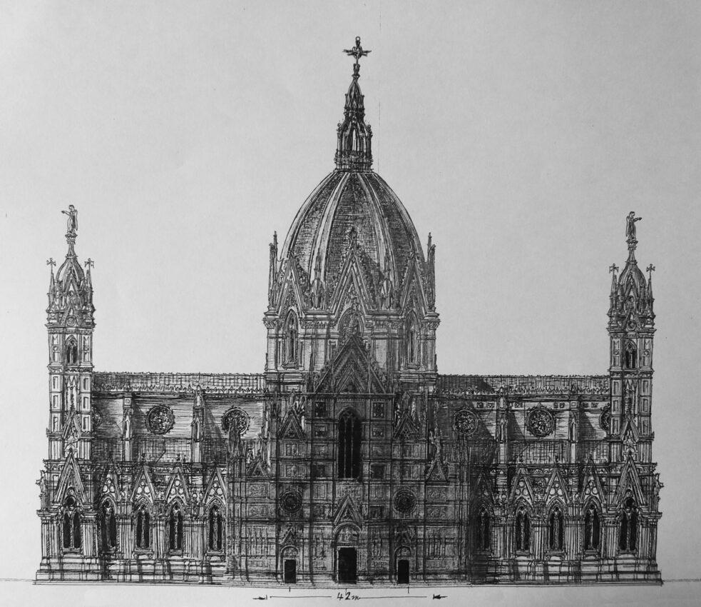 Bologna, St. Petronio. Der große Plan mit erhöhtem Mittelschiff und deutlich steilerer höherer Kuppel und einer fünfachsigen Fassade mit großen Wimpergen.