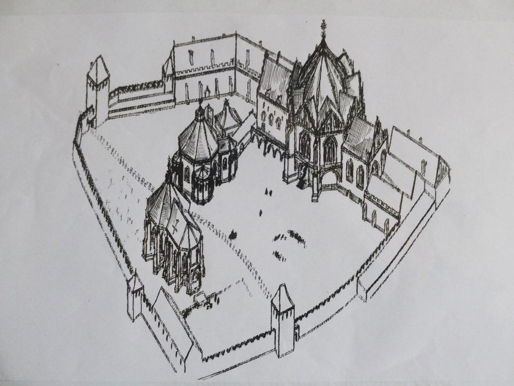 Breslau sogenannte Burgkirche, eine alte frühe Stadtresidenz mit einem schönen Zentralbau, der Burgkirche, die hier ein geschweiftes Dach in Form des gotischen Eselsrückengiebel erhält. Fast alle Bauten sind verschwunden.