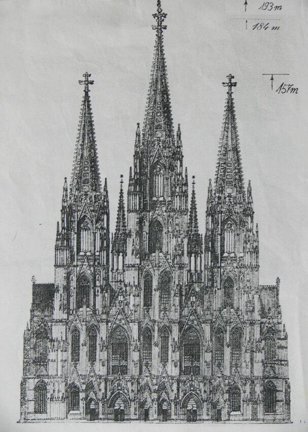Köln Plan einer dreitürmigen Westfassade (Heiligdreikönigplan)