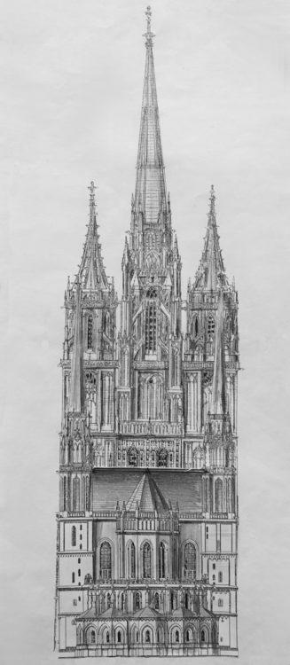 Magdeburg. Dom. Ansicht der Fassade nach spätgotischem Plan mit hohem Mittelturm.
