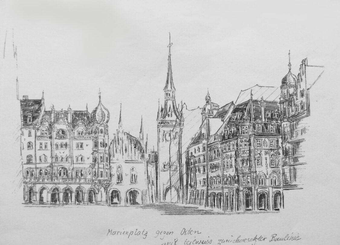 München Umgestaltung des Marienplatzes Ostseite. Die Randbebauung wird zurückverlegt und teilweise auch baukünstlerisch abgeändert.