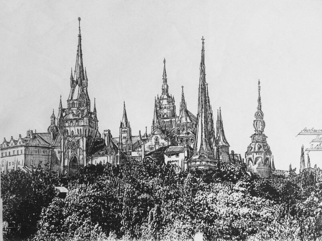 Prag.Ausformung der Prager Burg mit neuen Turmhelmen. Die von Benedikt Ried geschaffene ebenso wehrhaft wie repräsentativ wirkende Festungsanlage in der Ansicht von Osten mit schwarzem Turm.