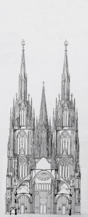 Straßburger Münster. Ansicht und Teilaufriss des Projektes nach dem Plan Erwin von Steinbachs zur Westfassade und mit steinernem durchbrochenem Turmhelms sowie erweitertem Chorbau.