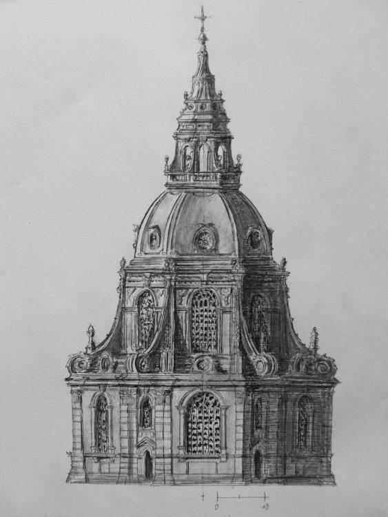 Ansicht der Fassade des Zentralbaus zur calvinistischen Postkerk nach der überarbeiteten Idee des von Nicolas Listingh
