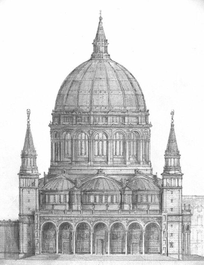 Berliner Dom als Entwurf von Bernhard Kolscher von 1867. Dieser Plan dient bereits als Grundlage weiterer Entwürfe des Autors. Der Zentralbau wird von vier hohen über Eck angefügten Glockentürmen eingerahmt.