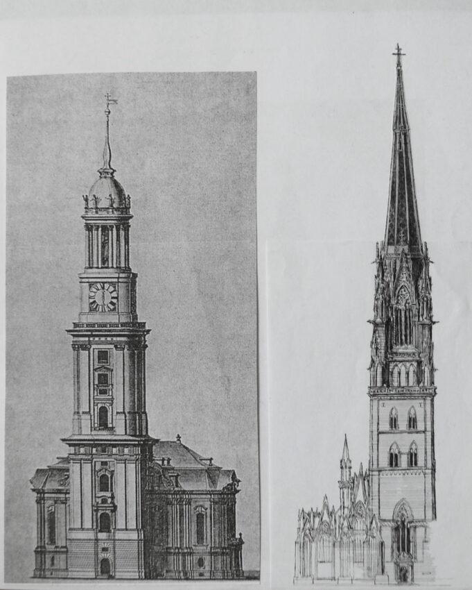 Hamburg St. Jacobi mit neuem Turm im Vergleich mit St. Michael