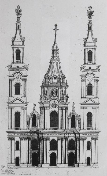 Kaisheim. Die letztendliche Variante, die sogar stark vereinfacht ausgeführt wurde zeigt einen barocken Turm mit geschweiftem Zeltdach als Vierungslaterne.