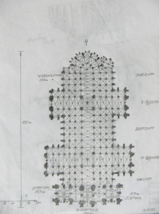 Köln Grundriss des Dreikönigplans mit dreitürmiger Fassade und zwei Querhäusern sowie Vierungsturm