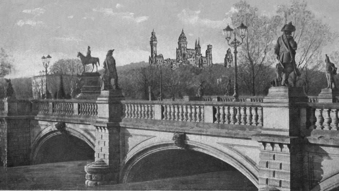 Potsdam Brauhausberg. Ausbauentwurf einer Klosteranlage perspektivisch von Norden mit der Langen Brücke.