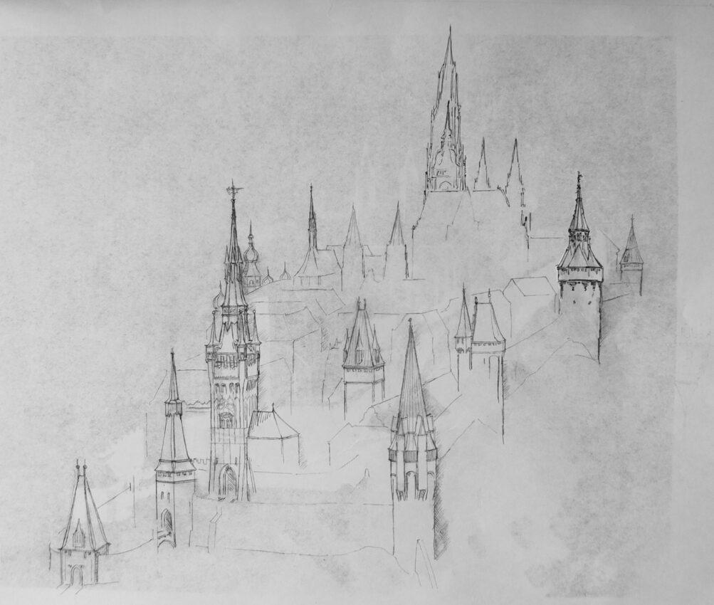Prag.Ausformung der Hradschin Burg mit neuen Turmhelmen. Überarbeitete Version aus der östlichen Flugperspektive.