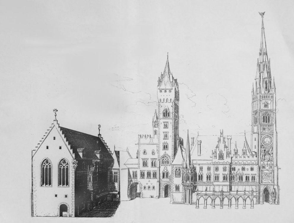 Regensburg. Der komplette Rathauskomplex mit dem früheren Marktturm. Variierte Turmabschlüsse und verfeinertes Dekor. Die Fassaden muss man sich zudem reich bemalt vorstellen. Vorlage war ein alter Stich.