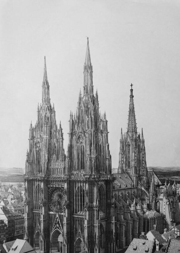 Straßburger Münster. Perspektivische Ansicht des Projektes nach Erwin von Steinbach mit dem Fassadenriss A und dem steinernen durchbrochenen Turmbau über der Vierung sowie dem erweiterten Chorbau.