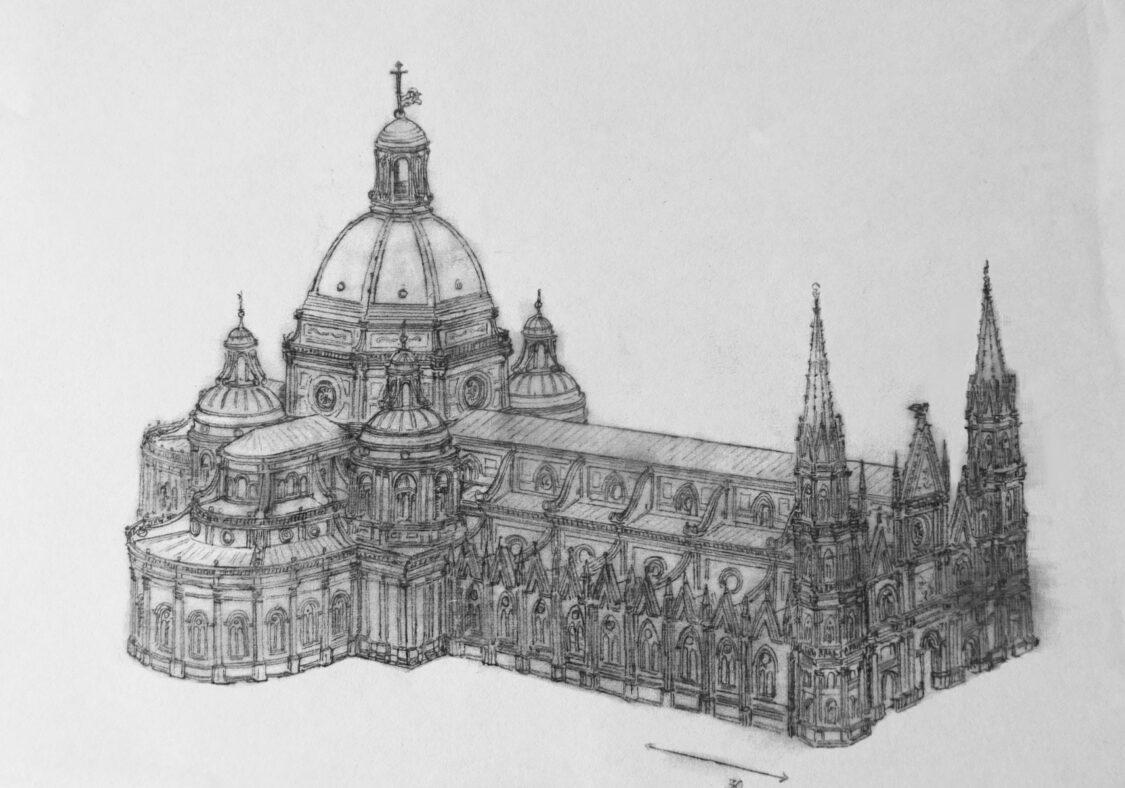 Bologna, St. Petronio. Der Plan zeigt eine perspektivische Ansicht nach Peruzzis Plan mit der Renaissancekuppel über dem Dreikonchenbau mit den Nebenkuppeln. Die Fassade ist dreiachsig und durch seitliche gotische Türme akzentuiert. Peruzzis Entwurf wurde wegen der Türme auch als Maniera Tedesco bezeichnet.