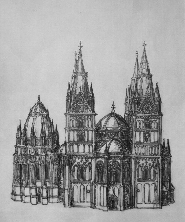 Brandenburg, Wallfahrtskirche St. Maria, Wiederherstellung des Zentralbaus mit steinernen Turmhelmen mit Maßwerkverzierungen sowie einer zentralen Vierungskuppel.