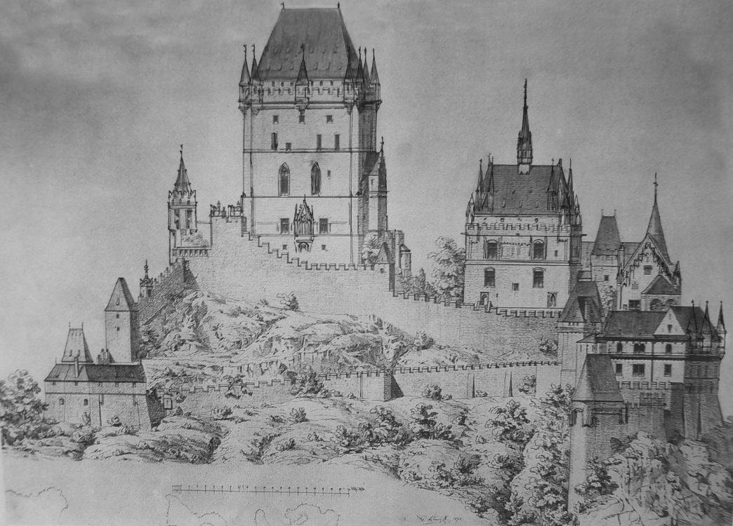 Prag. Burg Karlstein bei Prag. Die von Karl IV. errichtete Gralsburg, gebaut auch als Denkmal des römisch-deutschen Reiches und als Aufbewahrungsort der Reichskleinodien. Der Entwurf zeigt den an Friedrich Schmitts Pläne orientierten Vorschlag zur Restaurierung.