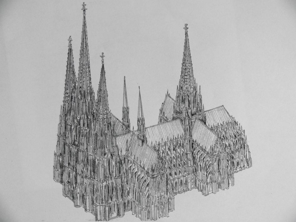 Köln Perspektive des Dreikönigplans mit dreitürmiger Fassade und zwei Querhäusern sowie Vierungsturm
