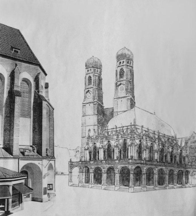 München. Stadthalle an der Domfreiheit. Perspektive von Westen gesehen. Im Vordergrund der Chor der ehemaligen Augustinerkirche.