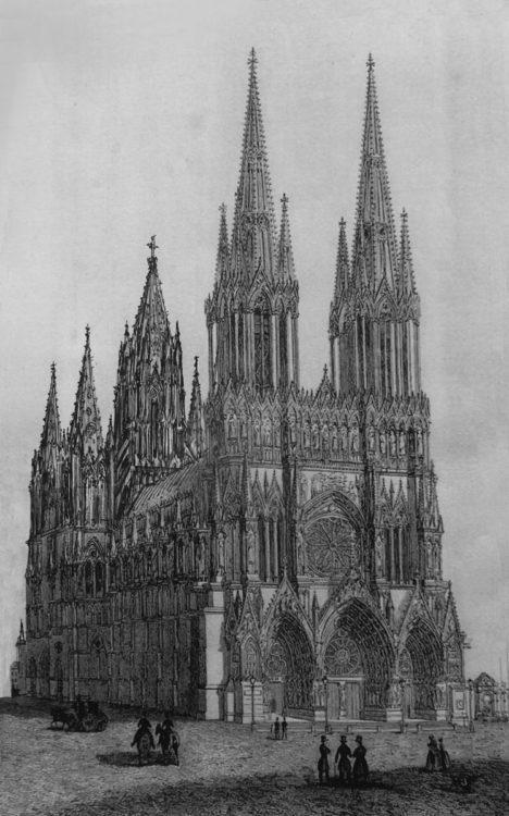 Kathedrale von Reims mit vollständigem ausgebauten Vierungsbereich als Variante in Stein