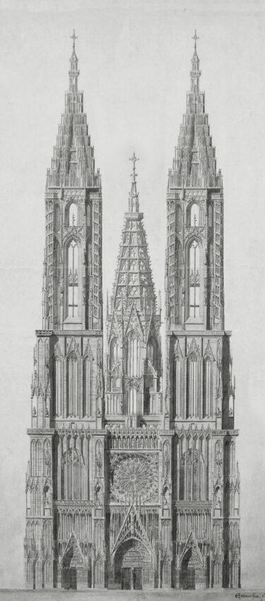 Straßburger Münster. Ansicht von Westen mit den vervollständigten Türmen nach dem Plan von Hültz sowie einem steinernen Turmbau über der Vierung.