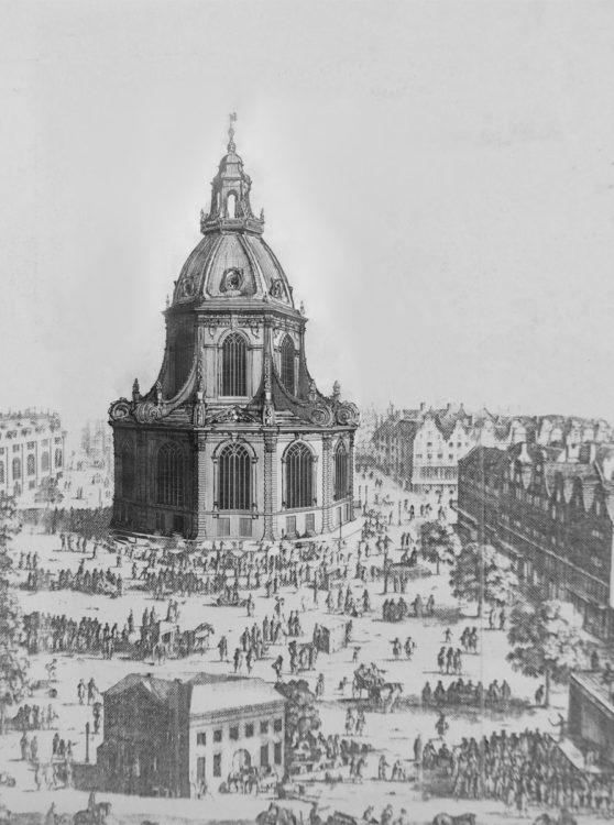 Perspektivische Ansicht der Postkerk nach den endgültigen überarbeiteten Plänen. Deutlich ist die Monumentalität des Baus am erweiterten Rembrandtplein wahrzunehmen
