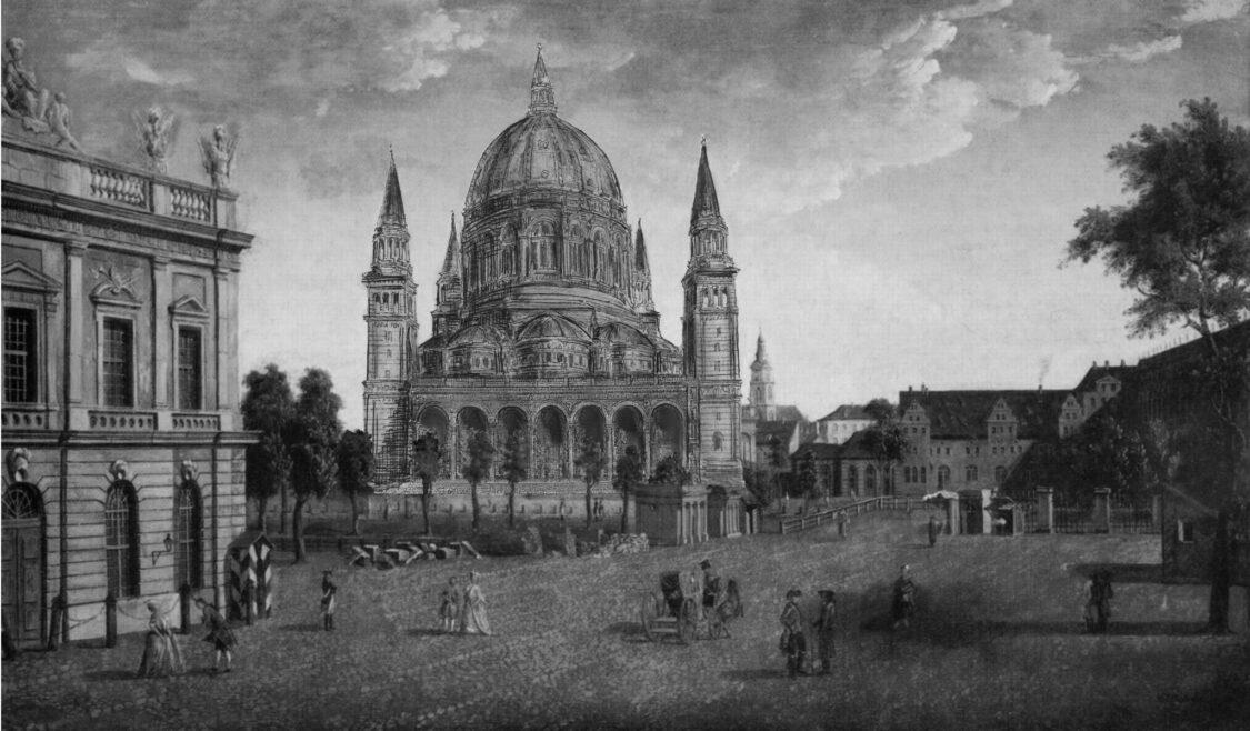 Berliner Dom nach Bernhard Kolscher. Ansicht vom Lustgarten aus auf die Portalzone mit der Arkadenvorhalle.
