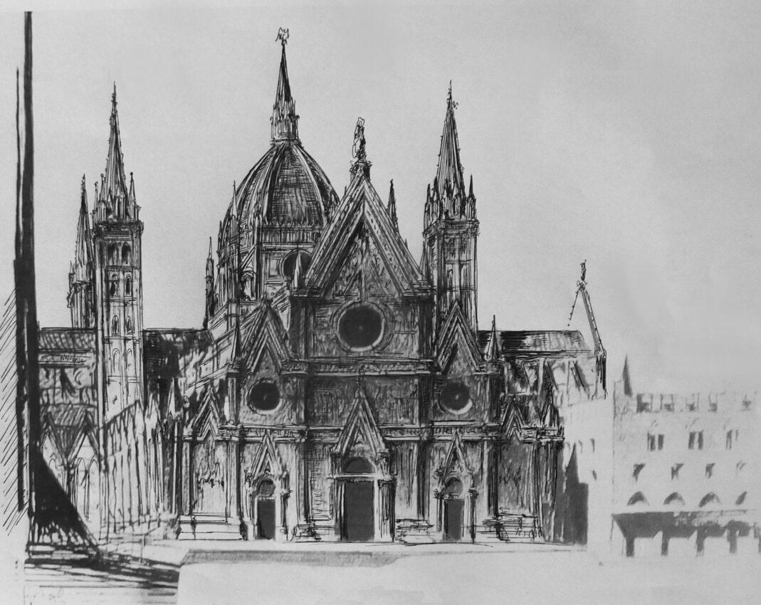 Bologna, St. Petronio. Der mögliche neugotische Ausführungsentwurf als Kombination der kleineren Varianten mit der Laternenkuppel in Art des Mailänder Domes und einem Kuppeldach nach dem Vorbild des Florentiner Domes.