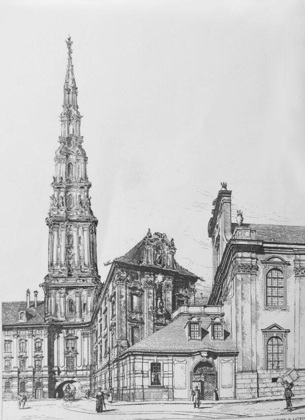 Breslau. Jesuitenkolleg. Blick der kleinen Verbindungsgasse der Oderstadt zum Fluss durch das Matthiastor, über dem sich der mächtige Turm erhebt.
