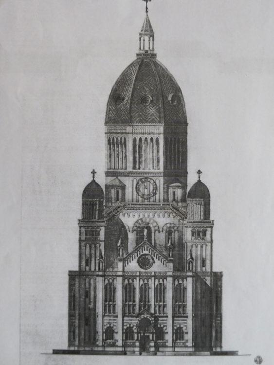 Hamburg Entwurf St. Nicolai von G. Semper. Aufriss mit erhöhter Kuppel und erhöhten Seitentürmen