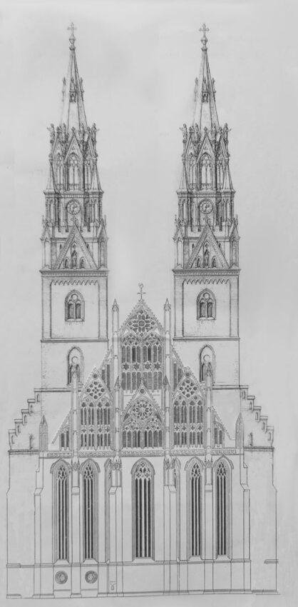 Prenzlau, Sankt Marienkirche. Ansicht der Fassade von Osten mit den neuen Türmen