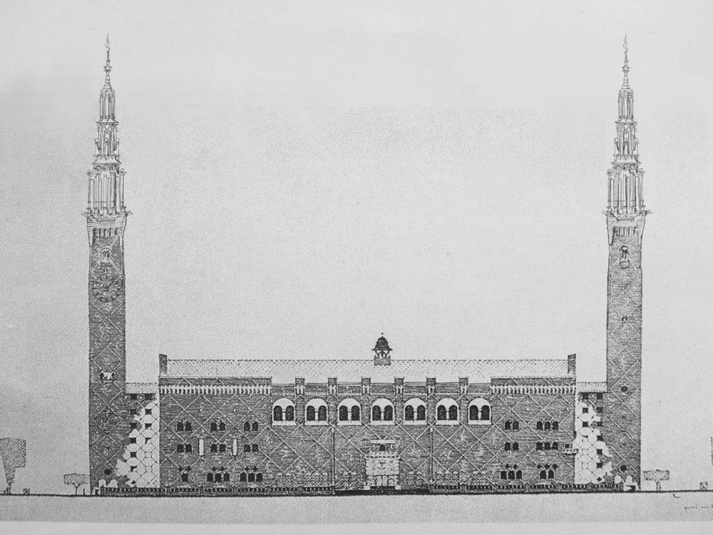 Ansicht der Fassade eines Neuen Rathauses an der Amstel am heutigen Waterlooplein > Matthias Walther > Architekturcollage