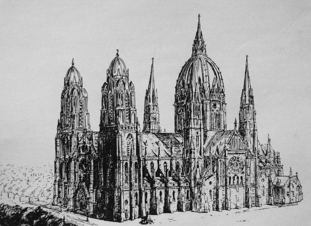 Perspektivische Darstellung des überarbeiteten Entwurfs zur Kirche St. Willibrordus am großen Amstelkanal. Das Projekt zeigt die Variante mit Kuppeln > Matthias Walther > Architekturcollage