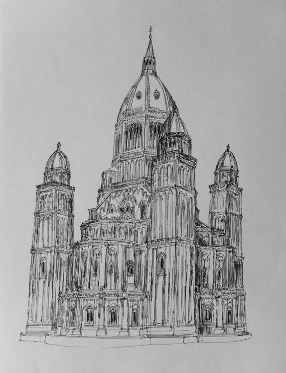 Hamburg Entwurf St. Nicolai von G. Semper. Skizze der Kirche ebenda > Matthias Walther > Architekturcollage