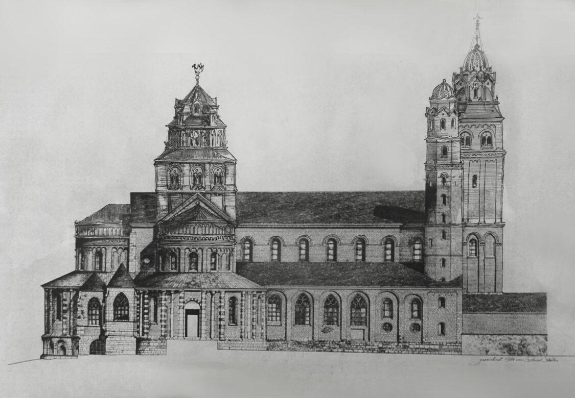 Köln St. Maria im Kapitol mit neuer Vierungskuppel und ausgebautem dreitürmigen Westwerk. > Matthias Walther > Architekturcollage