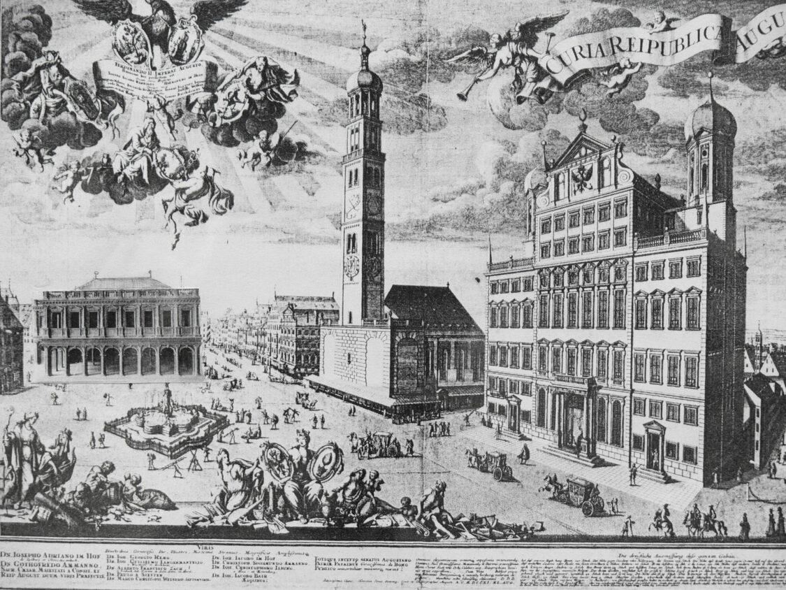 Der Rathausplatz wird um eine offene Bogenloggia mit Festsaal erweitert, wie sie tatsächlich von Heintz geplant war und als Modell gut überliefert ist. > Matthias Walther > Architekturcollage