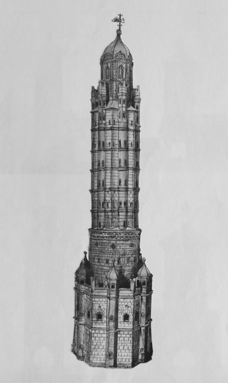 Der höchste und prunkvollste Turm der Stadtbefestigung wurde als Lueg ins Land deutlich erhöht und verziert. Es erscheint hier ein überarbeitetes Modellfoto dieses Turms. > Matthias Walther > Architekturcollage