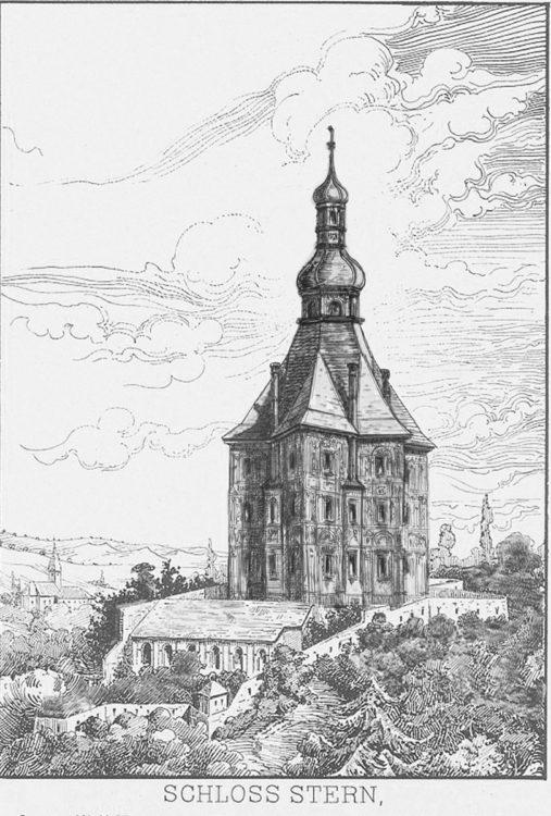 Schloss Stern mit dem ausgebauten Dach und Scraffitomalereien, so wie es in der Renaissance von Bonifaz Wolmuth geplant war. Heute nur mehr fragmentarisch erhalten.