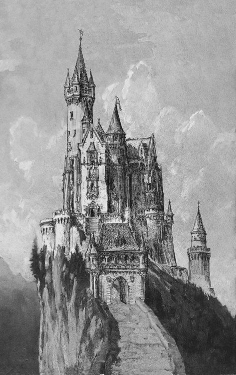 Burg Falkenstein nach den letzten Planungen Julius Hoffmanns, gesehen von Norden aus. > Matthias Walther > Architekturcollage