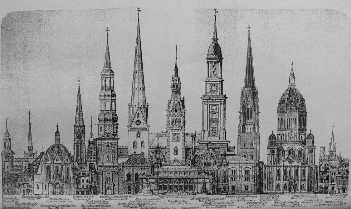 Hamburgs historische Türme im Vergleich mit Sempers Nicolaikirche und dem neuen Turm der Jacobikirche > Matthias Walther > Architekturcollage