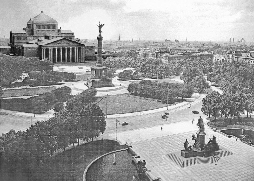 Am Königsplatz gegenüber dem Reichstag wird das neue sogenannte Große Opernhaus entstehen. Der Bau nach Entwürfen des Münchners Martin Dülfers besitzt einen beinahe achzig Meter hohen Bühnenturm und stellt die größte Oper der Welt dar. > Matthias Walther > Architekturcollage